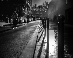 In the morning light (Jack_from_Paris) Tags: p1020542bw lumix dmcgf1 pancake20mmf17asph dmwlvf1e 20mm f32 micro 43 lightroom noiretblanc bw rue street light lumière contrejour vélo cyclistes shadows ombres paris 13 75013 monochrom bicicletas blackandwhite monochrome