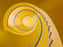 All Yellow (Philipp Götze) Tags: germany spiral bayern bavaria stair treppe escalera gelb staircase swirl escalier erlangen treppenhaus wendeltreppe