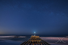 Milky Way and Moonrise @ the fishing pier (Michael Ver Sprill) Tags: ocean longexposure sky seascape beach mike night way landscape michael pier nikon waves sandy hurricane nj clear moonrise pilings jerseyshore milky crashing fishingpier mv ver d800 milkyway oceangrove 1424 sprill versprill photographyforrecreation mikeversprillcom