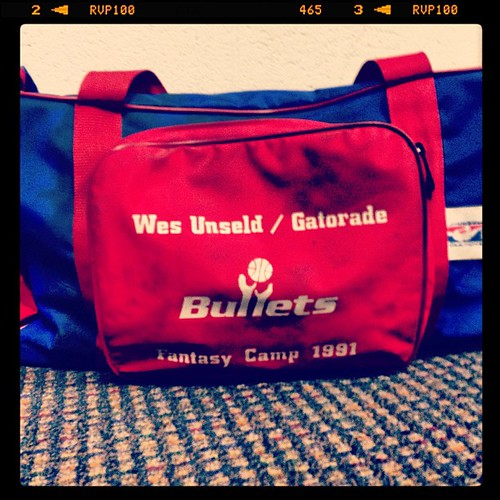 This is someone's bag. I wish it were mine. Wes Unseld '91 Gatorade Fantasy Camp, #Bullets.