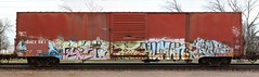 Sinek/Resek/Phrite/Human/Eros (quiet-silence) Tags: railroad art train graffiti flat eros human railcar boxcar graff sws freight wh akb phrite fr8 endtoend e2e a2m sinek wafact resek baex baex561