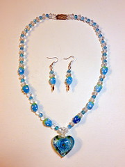 Blue Rose Necklace Set (floyfreestyle) Tags: blue rose vintage necklace berry crystal handmade earrings rhinestone sterlingsilver lampworked
