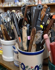Cutlery (caroles_corner (Catch up time ... )) Tags: utensils knives fleamarket cutlery handles crocks kitchenware