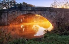Halfpenny Bridge at Dawn (jactoll) Tags: mist thames sunrise river landscape dawn nikon cotswolds gloucestershire riverthames halfpennybridge d60 lechlade lechladeonthames jactoll nikcolorefexpro4