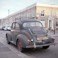 Morris Minor (kenny ip) Tags: london classic 120 6x6 film car vintage mediumformat kodak hasselblad morrisminor portra clapton carlzeiss 501cm 160nc 80mmf28 planart kennyip