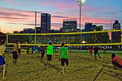 2016-07-18 Carolina Panthers (26) (cmfgu) Tags: baltimore beach volleyball bbv md maryland innerharbor rashfield sand sports court net ball outdoor league athlete game nfl nationalfootballleague players carolinapanthers camnewton joewebb damierebyrd aviuscapers tedginnjr stephenhill tobaispalmer milesshuler braxtondeaver scottsimonson beausandland sunset clouds sky color