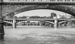 bridges of prague (lichtauf35) Tags: monocrome travel prague sl1 panorama ef100f28lis river vltava moldau bridges pov