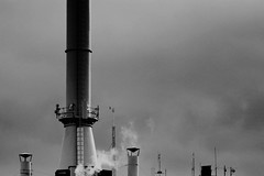 (jean_pichot1) Tags: antennas gteborgenergy high above top factory energy gothenburg massive foreground bw metal industrial sky smoke chimney smokestack