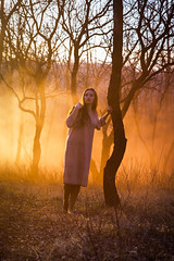 Lost in a Dusk (Ash and Debris) Tags: wood trees forest girl tree sunset sun woods mist sunlight light fog emotion smoke orange dusk