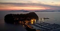 """""""Nisida  un'isola e nessuno lo sa"""" (cortomaltese) Tags: nisida isola procida ischia napoli golfo mare tramonto sea sunset islands promontorio italia sera evening"""