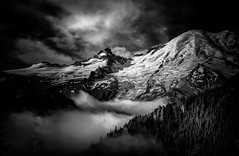 Mount Rainier & Little Tahoma (TroyMasonPhotography) Tags: backpack blackandwhite glacier hike mtrainier wonderlandtrail mountrainier mountrainiernationalpark clouds sunrise landscape low key drama moody fog littletahoma josh checkthis