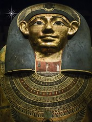 Closeup of the gilded face of the inner coffin of Meret-it-es Late Period - Ptolemaic Period 30th Dynasty to early Prolemaic Dynasty 380-250 BCE Wood pigment gesso and gilding (mharrsch) Tags: coffin sarcophagus anthropoid gilded gold death burial funerary 30thdynasty ptolemaicdynasty lateperiod ptolemaicperiod religion myth goddess deity ancient nelsonatkinsmuseum kansascity missouri mharrsch