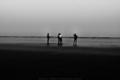 ||Friends|| (SouvikMetiaPhotography) Tags: people portrait landscape seascape beach standing waiting fineart blackandwhite flickr india asia travel travelphotography nikon morning fog