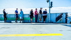 People at ferry full of thoughts about the World's peace (kirilko) Tags: ferry yellowstripe people vermont nystate lakechamplain streetphoto streetphotography stilllife fujix100 fujifinepix usa plattsburgh