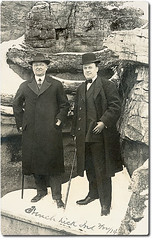 Two gentlemen posing for the camera, French Lick, Indiana (Hoosier Recollections) Tags: people usa snow man men history clothing hats indiana pedestrians orangecounty frenchlick realphoto hoosierrecollections