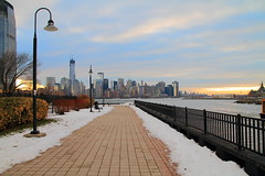 lower Manhattan From Jersey City ! (pmarella) Tags: snow sunrise fence pier promenade pmarella hudsonriver lowermanhattan jerseycitynj onthewaterfront riverviewpkproductions icoverthewaterfront myeyeshaveseenthis