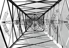 High Voltage (Credi) Tags: bw construction energy iron graphic energie grafik symmetry symmetrical sw photoart highvoltage konstruktion symmetrie linien hochspannungsmast grafiklinien graphiklinien