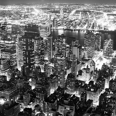 Manhattan East (Adam Garelick) Tags: city nyc newyorkcity winter blackandwhite 120 6x6 film monochrome architecture night mediumformat manhattan midtown empirestatebuilding 100 fujineopanacros 2013 ilfordilfosol3