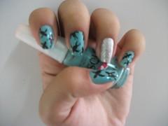 Unhas (Juh Sandis) Tags: azul nice nail nails minhas desenho legal unhas risque prata passaros unha