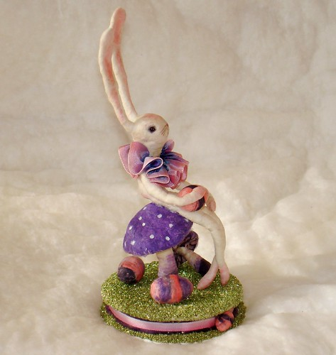 "spun cotton Easter bunny vignette ""in a field of purple mushrooms"" jejeMae"