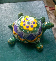 Turtle by Sharon (Chipmunk Hill Arts) Tags: original art ceramics handmade clay handpainted studentwork allages bloomingtonindiana underglazes lofire chipmunkhill earthenwre