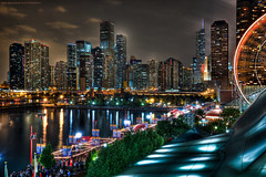 The Navy Pier and Chicago Skyline (Jeff_B.) Tags: city carnival chicago night illinois cityscape michigan ill lakeshore northside navypier streeterville windycity pieir