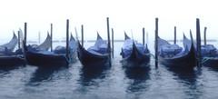 Gondolas in the Mist (Trouvaille Blue) Tags: travel blue venice italy mist tourism fog europe italia venezia grandcanal gondolas sanmarco trouvailleblue