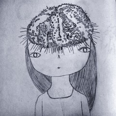 Urchin head. (gemmaausten) Tags: cute art girl illustration pencil sketch drawing sketchbook urchin