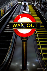 Way Out Swiss Cottage (LeePellingPhotography.co.uk) Tags: city red white london art up yellow stairs way out underground lights swiss elevator tube cottage lamps lighters deco