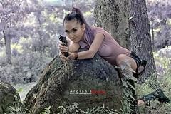 Shoot Me (ardiansphotos) Tags: sexy beauty canon indonesia army model pistol hunter yogya beautifull fasion 18135mm 1000d