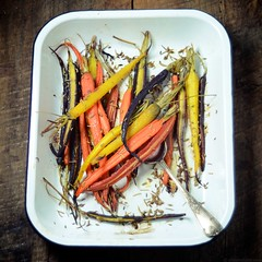 Oven-Roasted Carrots with Fennel Seeds (abrowntable) Tags: india cooking kitchen bench recipe healthy rainbow oven furniture indian spice roots cook roast rosemary vegetarian recipes oliveoil fennel seasalt rainbowcarrots ovenroasted
