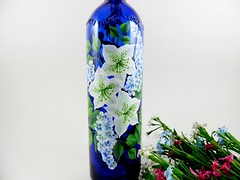 Lighted Wine Bottle Blue White Azalea Flowers Wisteria Hand Painted (Painting by Elaine) Tags: lighting blue bottle recycled painted handpainted azalea cobaltblue wisteria lighted barlight paintedglass paintedbottle paintedflowers bottlelamp accentlight handpaintedglass recycledbottles winebottlelights bottlelights recycledwinebottle lightedwinebottle paintingbyelaine lightedbottle bluebottlepainted handpaintedazalea paintedwisteria