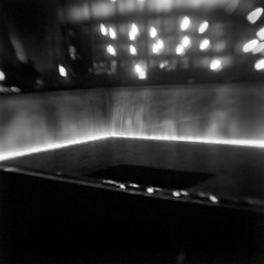 Memorial (robert schneider (rolopix)) Tags: nyc newyorkcity blackandwhite bw ny newyork abstract blur 6x6 film monochrome mediumformat blurry memorial kodak worldtradecenter brownie wtc expired lowermanhattan vp outdated browniehawkeye 911memorial bhf flippedlens outofdate verichromepan verichrome autaut nationalseptember11memorialmuseum 620120620 bwfp believeinfilm