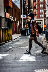 City Motion (c. Melon Images) Tags: city portrait woman blur philadelphia girl vertical contrast alley dof bokeh walk candid rittenhouse walker philly crosswalk rebelt2i