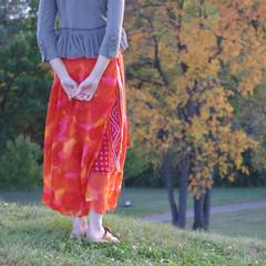 Lovely (michael.veltman) Tags: park autumn red woman leaves allison dress hill gray jacket lockport dellwood