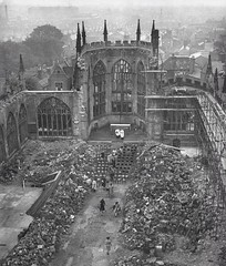 Services held at Coventry Cathedral amidst the ruins, 1944 (Peer Into The Past) Tags: england history ruins wwii blitz 1944 coventrycathedral