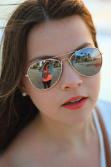 Florida Sunglasses (abbywhitephotography) Tags: blue light sunset red orange sun reflection beach girl beautiful weather yellow closeup canon photography rebel glasses mirror nice model focus warm colours photoshoot florida tan teen naples lipstick brunette haley t2i abbywhitephotography