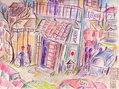 JAPANESE VILLAGE REVISITED (roberthuffstutter) Tags: new japan pencil watercolor japanese village taxi snapshots risingsun treasures justposted worldzbestfotoz bamboolantern huffstutter randomsnapshotsandart robertsunsorted tagspending americanphotographs mustseephotos huffstuttersoriginalphotosart