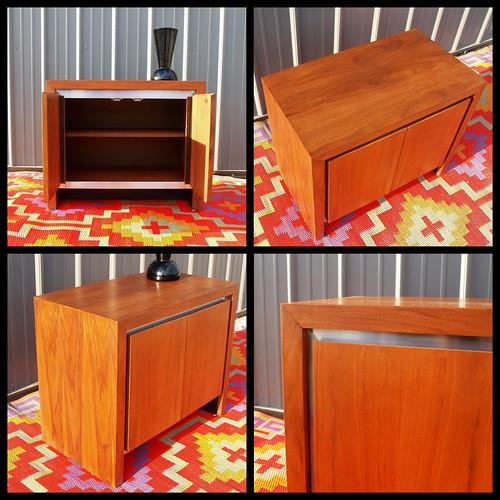 Milo Baughman For Dillingham MID CENTURY MODERN Vintage Walnut Cabinet  1960s American Flame Wood U0026 Brushed