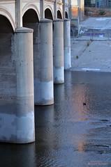 Waverly Approach Glendale-Hyperion Viaduct, Los Angeles (Jason Scheier) Tags: park lighting bridge blue sunset red car river concrete la los village angeles bokeh bridges historic atwater hyperion bridgeway