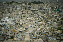 Densely packed Aleppo (Lil [Kristen Elsby]) Tags: aleppo halab lx3 middleeast syria travelphotography landscape urbanlandscape city architecture satellitedish satellitedishes dense panasoniclumixlx3 skyline view viewfromcitadel gettyimages getty editorial topv3333