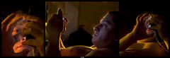 Tan cerca (lightandshout) Tags: triptyque trptico perfil portrait mexico celular phone night inside near light