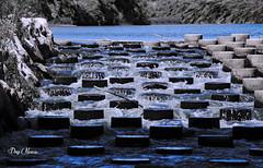 mini cascade - mini waterfall (png nexus) Tags: blue rock pierre rivire bleu desaturation cascade