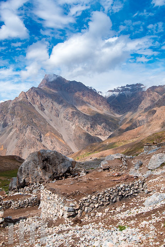Summer village on Tovasang Path, near Haftkul, Fann Mountains, Tajikistan.