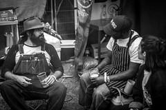 bbq breaktime (davidjhumphries) Tags: black white canon 5d 50mm f14 coctails whiskey jameson alcohol bartender drink food dof dublin festival big grill 130816 0816 2016 herbert park cooks bbq barbecue break chatting gril ireland beer craft blavk fire knife portraite
