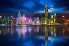 Hong Kong (Patrick Foto ;)) Tags: architecture asia attraction blue building business china chinese city cityscape color corporate destination duo finance harbor holiday hong hongkong kong metropolis modern night reflection scene sea shadows skyline skyscraper tone tourism tower travel urban victoria view water kowloon hk