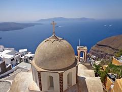 FIRA (SANTORINI) - GRECIA (cannuccia) Tags: paesaggi landscape grecia santorini fira isole cupole chiese mare croci