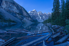 Breaking up the Blue Hour Reflection (Ken Krach Photography) Tags: lakemoraine banffnationalpark