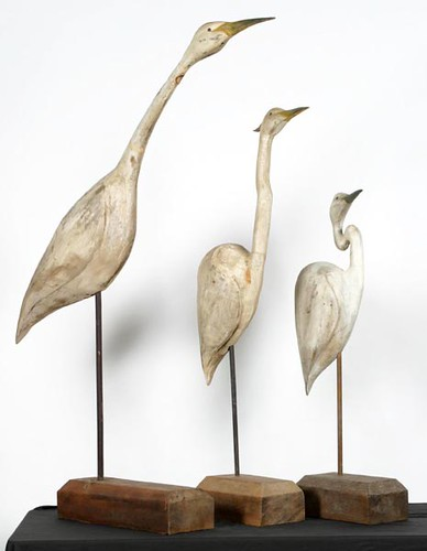 3 Wooden Egrets Carved & Painted by Robert Moreland in the 1980's ($246.40, $201.60, $190.40)