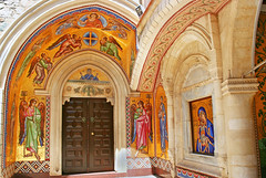 Kykkos Monastery (chrisdingsdale) Tags: abbey ancient architecture bible building christianity church cloister court ceiling pattern picture icon cultural culture cyprus destinations wall europe historic history holy greek indigenous kykkos kykkou mosaic mediterranean monastery museum obsolete old orthodox ornaments past religion religious saint sanctuary spirituality tourism traditional travel unesco vault vintage green blue arch red yellow colors colorful paint painting drow door brown
